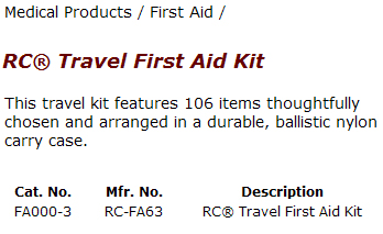 Travel First Aid Table